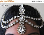 15% OFF Handmade Kundan stones hair chain head chain head jewellery Matha patti tikka wedding, party, bridal, prom