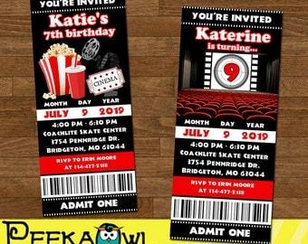 Printable Movie Birthday Party Invitation ticket - Movie Ticket Invitation - Personalize Movie birthday invitation ticket - Movie invitation