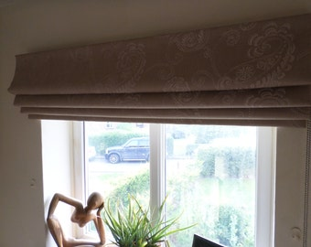 Luxury Made to Measure Roman Blind in embroidered Paisley fabric