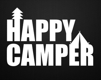 Happy Camper decal, campfire, sticker, tent, outdoors sticker......Cool!!