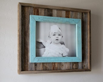 Rustic Slat Frame with blue overlay