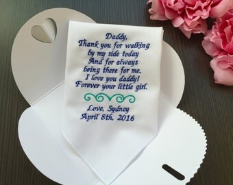 Wedding Handkerchief For Father Of Bride-Handkerchief Gift For Daddy-Blue Wedding Theme-Customized-Embroidery-Free Wedding Gift Box