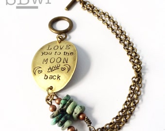 love you to the moon and back bracelet in bronze with mixed stone detail