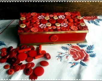Handmade altered red vintage buttons tin box