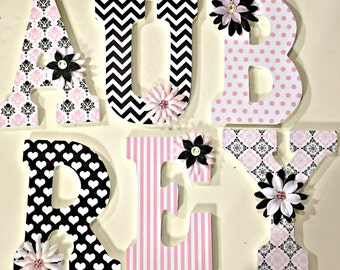 baby nursery letters, girls letters, wood letters, wall letters, Eva, damask designed letters, custom letters, decorative letters, pink