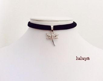 Kids Black Handmade Stretch Choker Necklace Dragonfly Charm Crystal Gift Birthday Favor