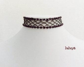 Purple Amethyst Rhinestone Crystals Gunmetal Choker Necklace Bridal Jewelry