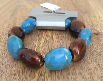 Blue & Brown Stone Beaded Bracelet Statement Chunky Fashion Jewellery