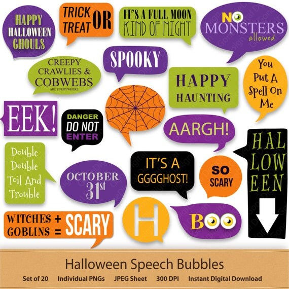 halloween digital speech bubbles digital stickers bubble happy halloween spider web clip art speech callouts word art quotes witch label tag - Happy Halloween Stickers