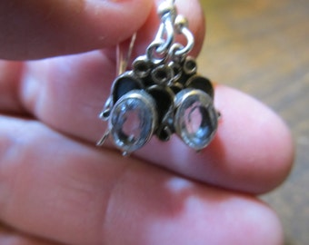 Vintage Ornate Silver and Quartz Earrings Pierced Ears