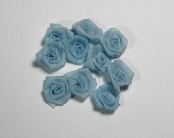 Jewelry Design Mini Satin Flowers, Miniature Serenity Blue Roses Wedding Supplies, Mini Roses Supplies Craft