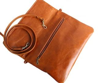 Distressed Vintage Brown Handbag with Exterior Pocket, Foldover Purse with Custom Strap, Light Brown Shoulder Bag