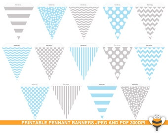 Pale blue and grey bunting printable flags, pastel blue and grey, gray Banner, pennant garland stripes chevron Polka Dots baby photo prop
