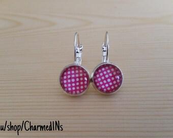Pink dotty dangle earrings