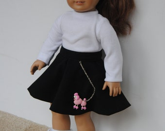 """1950's Poodle Skirt Ensemble for American Girl & Other 18"""" Dolls"""