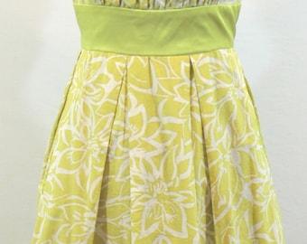 Chartreuse Green Cotton and Silk Sleeveless Dress w/ floral design. By Donna Ricco. Sweet dress, summer dress, pretty dress, feminine dress
