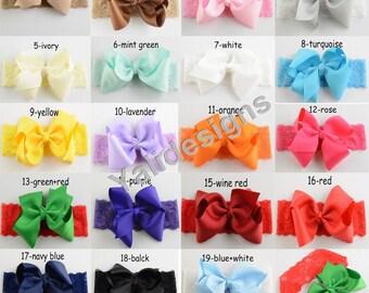 Colorful Baby Headbands Ribbon Big V Bowknot Head Lace Headbands  -YTK33