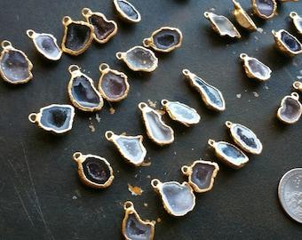 Geode Halves, Geode charm, 5 geode pendants 22k Gold edge Small 12-18mm #1471