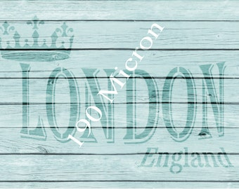 Re-usable Mylar Stencil LONDON,  Furniture, Fabric, French, Vintage, Shabby Chic