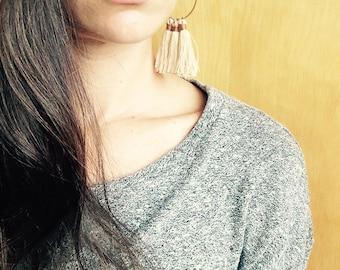 Tassel Hoop Earrings/ Boho Jewelry/ Beige Tassel Hoop Earrings/ Hoop Earrings/ Hoops/ Brass Hoops/ Hoop Earrings/ Bohemian Jewelry