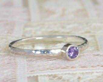 Amethyst Engagement Ring, Sterling Silver, Amethyst Wedding Ring Set, Rustic Wedding Ring Set, February  Birthstone, Sterling Silver Ring