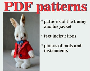 PDF teddy bear pattern download to create Teddy Bear stile Artis plush Rabbit 10 inch handmade collectible  Teddy Bear  Bunny sewing pattern