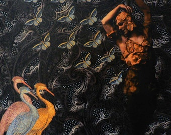 Three Herons/Nijinsky - Cm. 98 x 98 - Inches 38.6 x 38.6. Digital and acrilic on canvas.