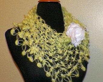On Sale- Yellow Shawl Triangle Scarf Irish Boho Crochet Mohair Lace Bridal Wedding Wrap Scarf
