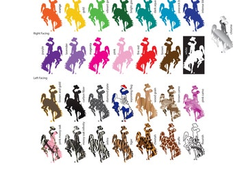 "8"" Tall Wyoming Cowboys Bucking Horse Vinyl Sticker/Decal (Steamboat) Multiple colors available"