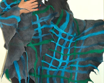 Hand felted merino wool scarf shawl cardigan x-large