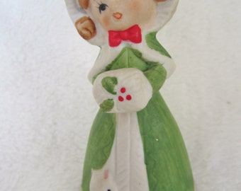 Vintage Christmas Bell-little lady made for JASCO in 60's -70's. Lovely facial expression, delicately painted by the artist. Collectible!