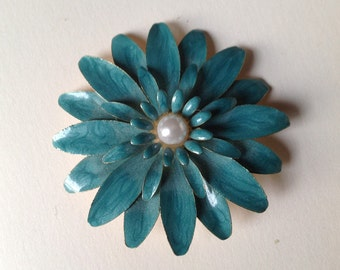 MOD Turquoise Blue Enameled Flower Pin, 1960s Turquoise Flower Brooch Pin