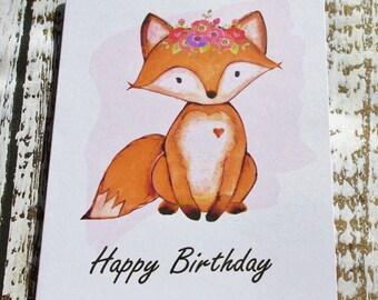Birthday Card with bohemian fox
