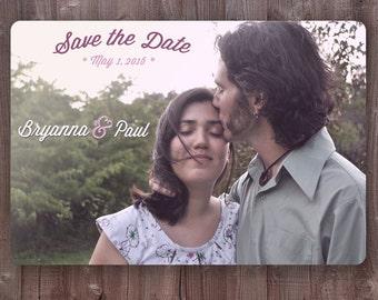Custom Vintage Photo Save the Date Wedding Invite Template Postcard Announcement