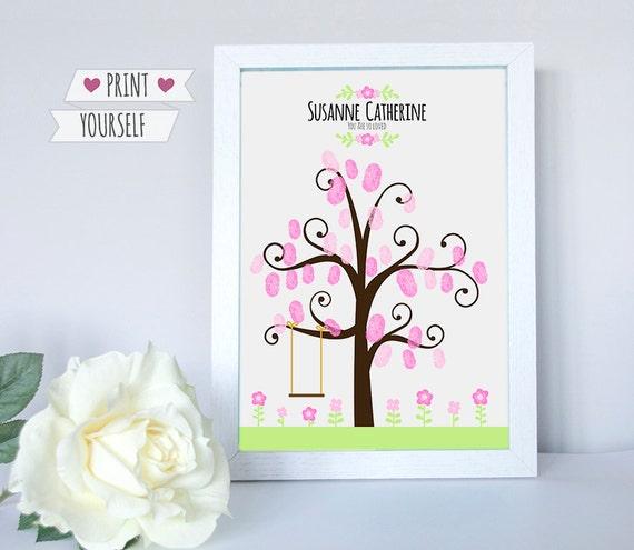 Girl Pink Swing Fingerprint Tree / Printable Pdf / Guest