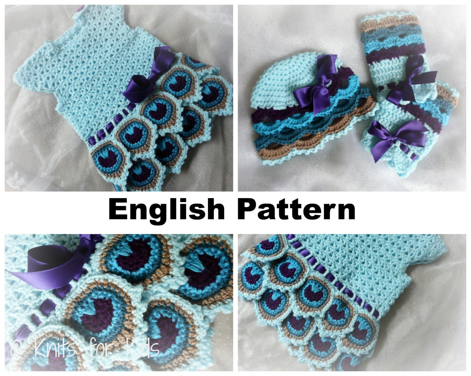 English Crochet Pattern Baby Set Peacock by ElodyKnitsforKids