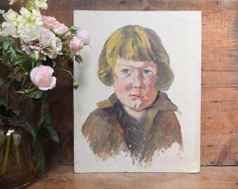 Portrait of child / oil painting / Vintage 30s