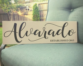 10x36 Family Established Sign, Anniversary Gift, Housewarming Gift, Wedding Gift, Painted Wood Sign, Custom Wood Sign