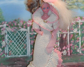 Crochet Fashion Doll Barbie Pattern- #54 TURN of CENTURY PEACH