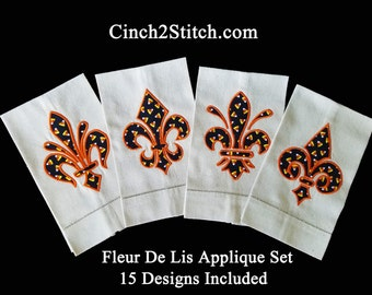 """Fleur De Lis Applique Collection -  Machine Embroidery Design Download (5"""" x 7"""" hoop) Great use for holiday fabrics"""