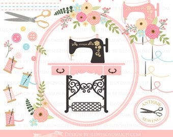 Antique Sewing Machine / Vintage Sewing Machine Clip Art - Instant Download - CA016