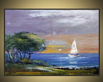 Original Oil Painting on Gallery Stretched Canvas Impressionism style  Blue  Green  Fine art Romantic Palette knife contemporary art