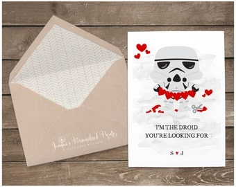 Star Wars Inspired Quirky Personalised Valentine's Card - I'm The Droid You're Looking For