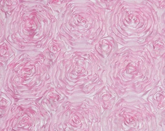 Satin rosette fabric pink. Sold by the yard.