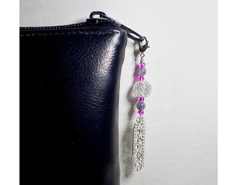 Bead Zipper Pull With Silver Chain Tassel, Pink Bag Charm, Purse Embellishment, Clear Glass Silver Mesh Bauble, Bag Bling, Clutch Adornment