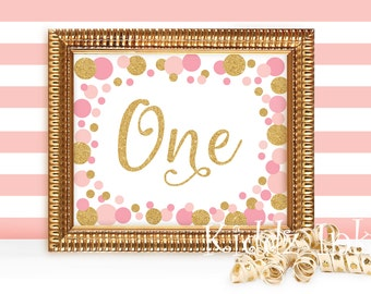 "Table Sign for 1st Birthday | ""ONE"" 