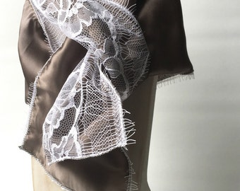 Silk scarf, grey color and white French lace from Calais