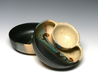 Pair of Personal Chip Dips, Stoneware Chip Dip, Pottery Chip and Dip, Canapé Dish, Tapas Dish