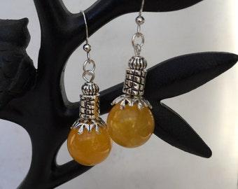 Yellow Jade bead Earrings