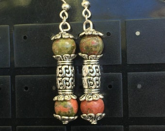 Natural Stone and Tibetan silver Earrings